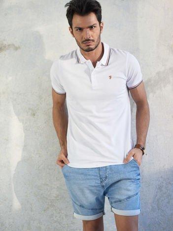 Biała męska koszulka polo
