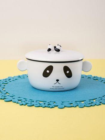 Biała miska ceramiczna z motywem pandy