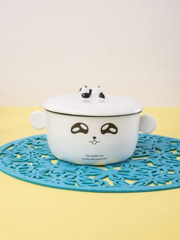 Biała miska ceramiczna z nadrukiem pandy
