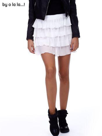 Biała plisowana spódnica z warstwowymi falbanami BY O LA LA