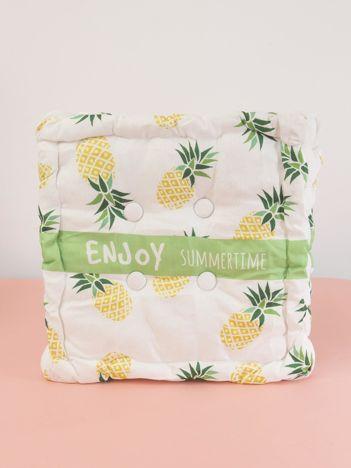 Biała poduszka na krzesło w ananasy