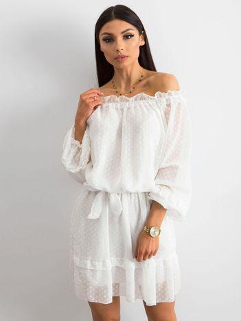 Biała sukienka hiszpanka z wiązaniem