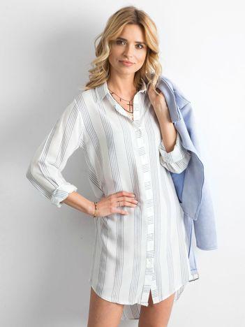 Biała sukienka szmizjerka w paski
