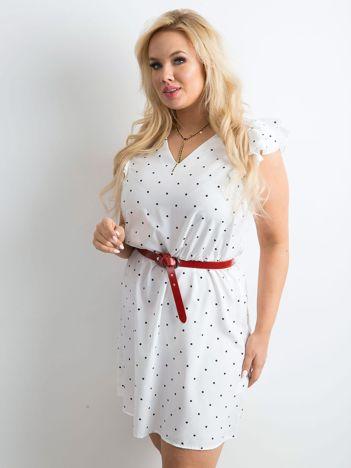 Biała sukienka w groszki PLUS SIZE