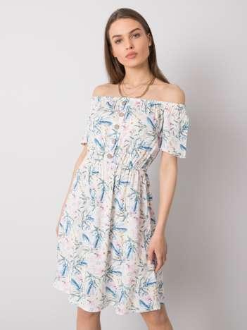 Biała sukienka we wzory Shelly SUBLEVEL