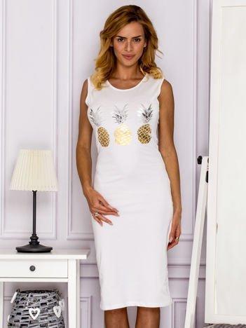 Biała sukienka z ananasami