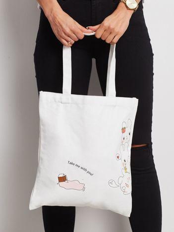 Biała torba materiałowa z nadrukiem