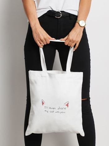 Biała torba materiałowa z printem