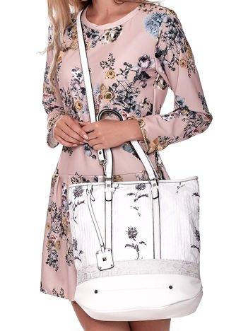 Biała torba w kwiaty ze wstawką crocodile skin