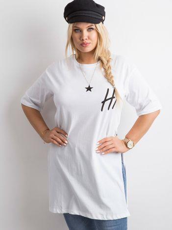 Biała tunika plus size z nadrukiem