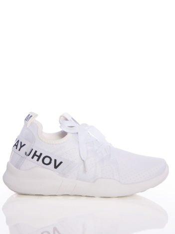 Białe ażurowe buty sportowe Rue Paris z przezroczystymi szlufkami i czarnymi napisami
