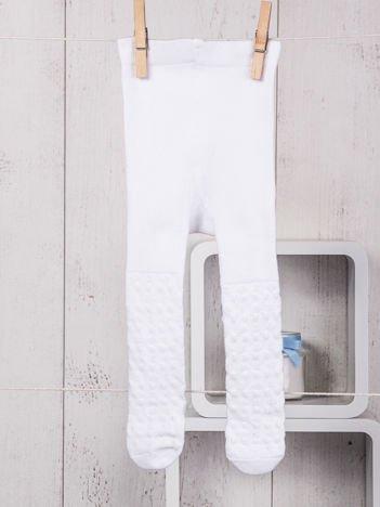 Białe bawełniane rajstopki niemowlęce ze zdobieniami dla dziewczynki