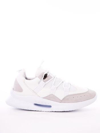 Białe buty sportowe z ozdobnym sznurowaniem i sprężystą podeszwą