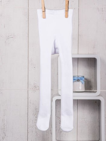 Białe ocieplane bawełniane rajstopy niemowlęce dla chłopca lub dziewczynki