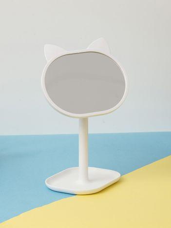 Białe ozdobne lustro stołowe