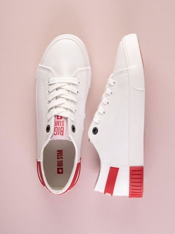 Białe tenisówki BIG STAR z eco skóry z czerwonym paskiem z logo