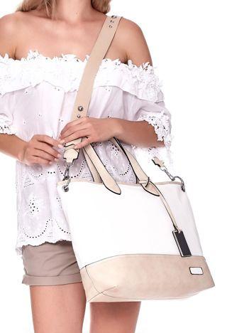 Biało-beżowa torba shopper z eko skóry z odpinanym paskiem