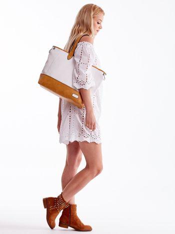 Biało-brązowa torba shopper z eko skóry z odpinanym paskiem