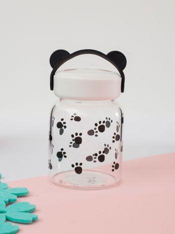 Biało-czarny szklany słoik z nadrukiem