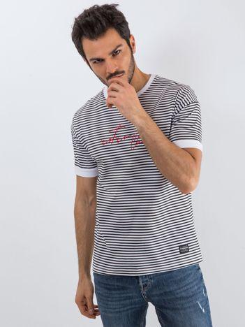 Biało-czarny t-shirt męski Yacht