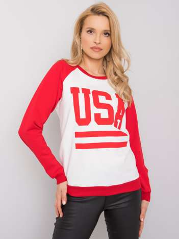 Biało-czerwona bluza z nadrukiem Samantha RUE PARIS
