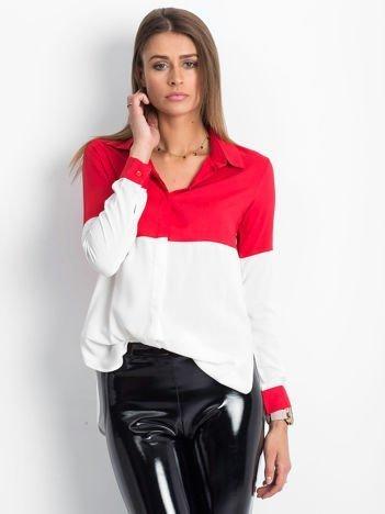 Biało-czerwona koszula damska