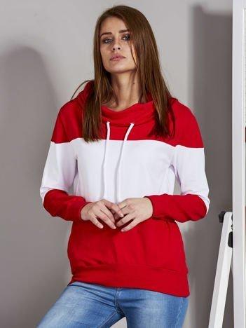 Biało-czerwona modułowa bluza damska z troczkami