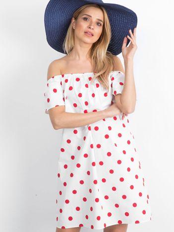 Biało-czerwona sukienka hiszpanka Taorminee