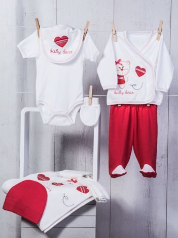 Biało-czerwony dziewczęcy 10-elementowy 100% bawełniany zestaw startowy dla noworodka z misiem