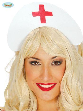 Biało-czerwony filcowy czepek pielęgniarki z wiązaniem