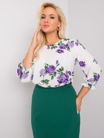Biało-fioletowa bluzka plus size w kwiaty Sandra