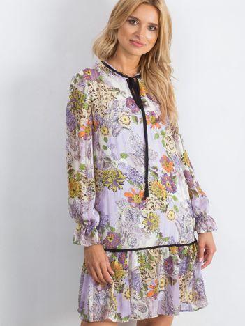 Biało-fioletowa sukienka Advisable