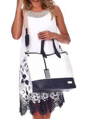 Biało-granatowa torba shopper z eko skóry z odpinanym paskiem