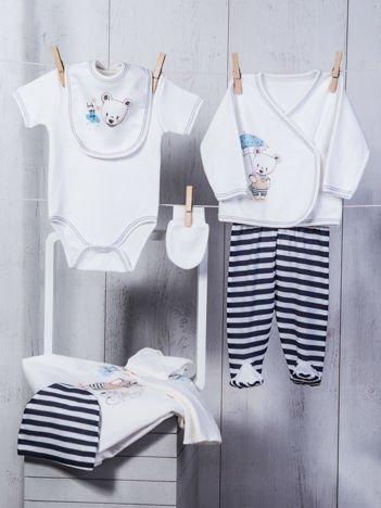 Biało-granatowy 10-elementowy 100% bawełniany zestaw startowy wyprawka dla noworodka z wesołym nadrukiem