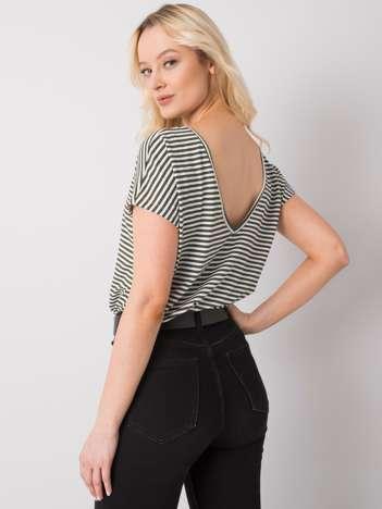 Biało-khaki t-shirt Gina RUE PARIS