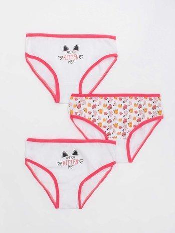 Biało-koralowe majtki dla dziewczynki we wzory 3-pak