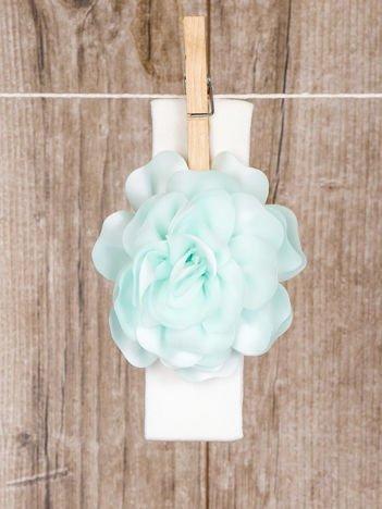 Biało- miętowa niemowlęca opaska na głowę bezuciskowa ozdobna wizytowa z kwiatuszkiem dla dziewczynki
