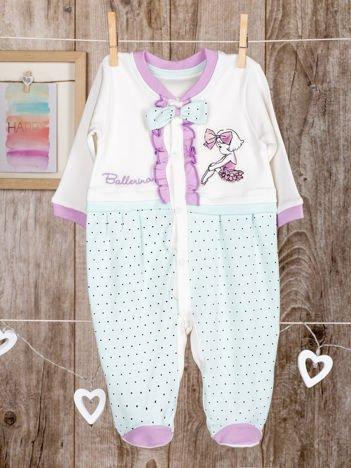 Biało -miętowe  bawełniane śpiochy dla dziewczynki z kokardką