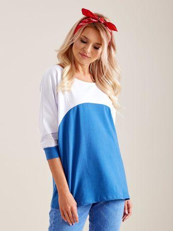 Biało-niebieska bluzka oversize