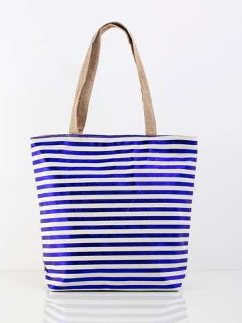 Biało-niebieska duża torba z nadrukiem