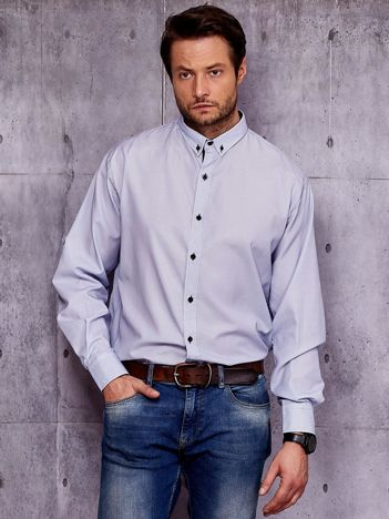 Biało-niebieska koszula męska w drobny geometryczny wzór PLUS SIZE