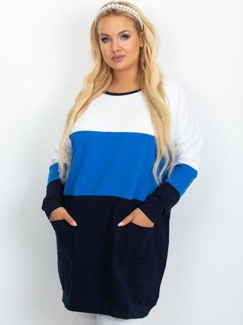 Biało-niebieska tunika plus size Bease