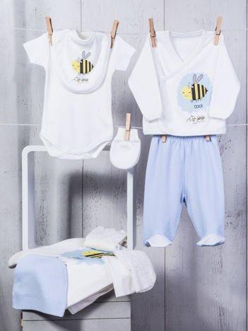 Biało-niebieski dziewczęcy 10-elemenentowy 100% bawełniany zestaw startowy dla noworodka z pszczółką