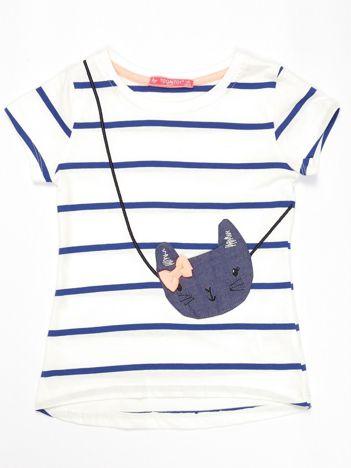 Biało-niebieski t-shirt dla dziewczynki w paski z kotem