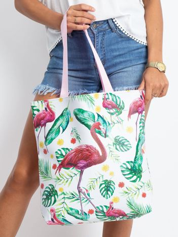 Biało-różowa duża torba we wzory