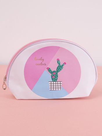 Biało-różowa kosmetyczka z nadrukiem