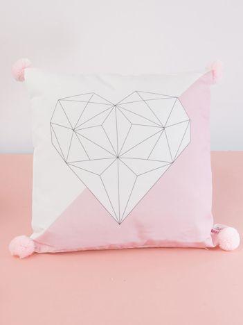 Biało-różowa poduszka z pomponami