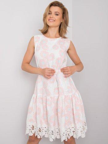 Biało-różowa sukienka w kwiatowy wzór Rousey