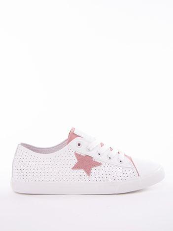 Biało-różowe ażurowe tenisówki BIG STAR z gwiazdkami