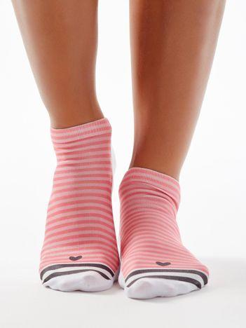 Biało-różowe skarpetki stopki w paski z serduszkiem